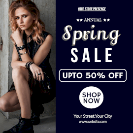 Online Editable Annual Spring Sale 50% Off Instagram Post