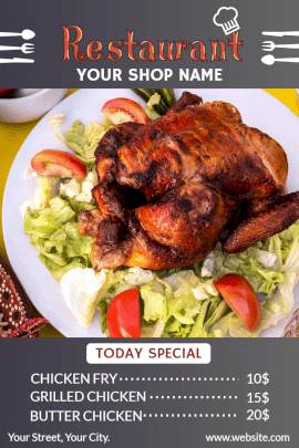 Online Editable Restaurant Chicken Menu Pinterest Graphic
