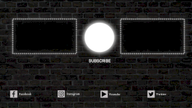 Online Editable Brick Wall with Social Media Icon Video Playlist YouTube End Screen Outro