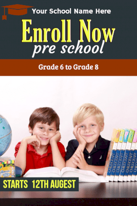 Online Editable Pre-school Admissions Announcement Pinterest Graphics