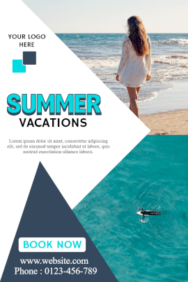 Online Editable Book Summer Vacation Destinations Pinterest Graphic