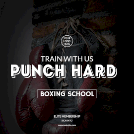 Online Editable Punch Hard Boxing Classes Instagram Post