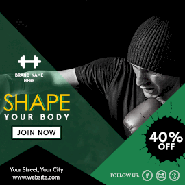 Online Editable Shape Your Body at Gym Instagram Post