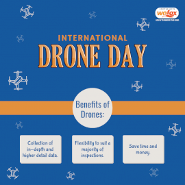 Online Editable Blue International Drone Day Social Media Post