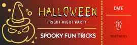 Online Editable Dark and Red Halloween Party Night Ticket