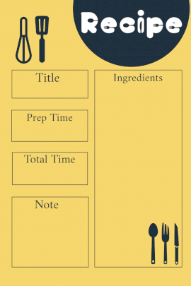 Online Editable Soft Yellow and Dark Desaturated Blue Recipe Card