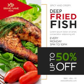 Online Editable Deep Fried Fish Offer Instagram Post