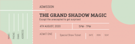 Online Editable Light Green and Red Magic Show Ticket