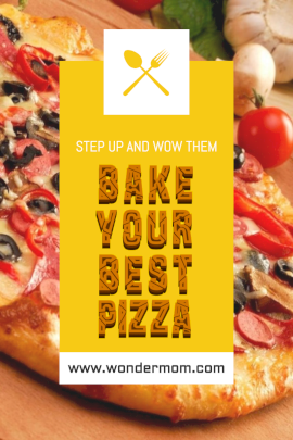 Online Editable Vivid Yellow Pizza Recipe Card