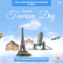 Online Editable National Tourism Day in the USA May 7 Social Media Post