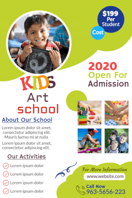 Online Editable Kids Art School Admission Open Pinterest Graphic