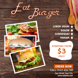 Online Editable Order Hot and Spicy Burger Instagram Ad