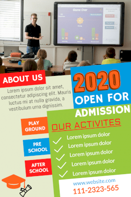 Online Editable Colorful Summer 2020 School Admission Pinterest Graphic