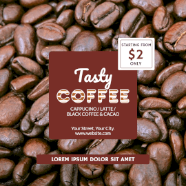 Online Editable Tasty Coffee Varieties Starting Price Instagram Post