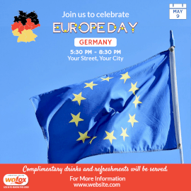Online Editable Europe Day in Germany May 9 Instagram Post