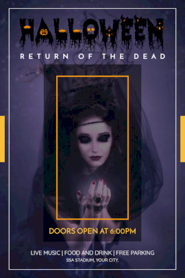 Online Editable Halloween Return of the Dead Party Pinterest Graphic