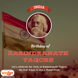 Online Editable Birthday of Rabindranath Tagore Instagram Post