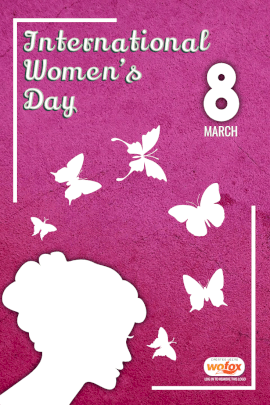 Online Editable Pink International Women's Day Pinterest Graphics