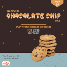 Online Editable National Chocolate Chip Day May 15 Social Media Post