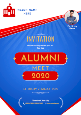 Online Editable College Alumni Meet Portrait Invitation