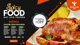 Online Editable Pure Orange and Black Restaurant Food Facebook Event Cover