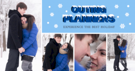 Online Editable Winter Holiday Destinations 4 Grid Photo Collage