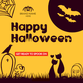 Online Editable Yellow Happy Halloween Celebration Instagram Post