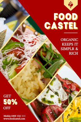 Online Editable Organic Food Castel Pinterest Graphic
