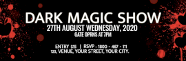 Online Editable Black and Red Dark Magic Show Ticket