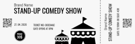 Online Editable Monochromatic Stand-up Comedy Show Ticket