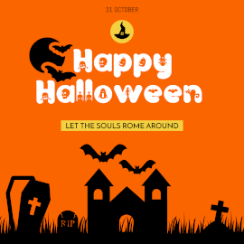Online Editable Pure Orange Happy Halloween Square GIF Post