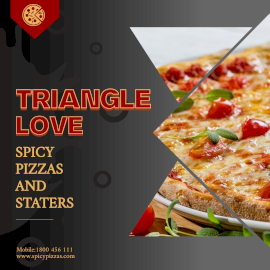 Online Editable Hot Spicy Pizza and Stater 3 Grid Photo Collage