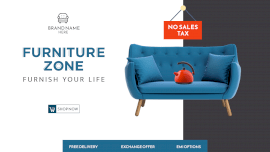 Online Editable Moderate Blue Online Furniture Store Sale Facebook Event Cover