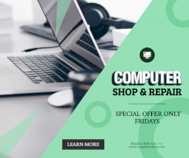Online Editable Computer Repair Shop Sale Facebook Post