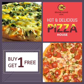 Online Editable Delicious Pizza Buy 1 get 1 Offer Instagram Post