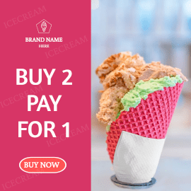 Online Editable Strong Pink Wafer Cone Ice Cream Offer GIF Post