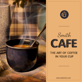 Online Editable Hot Cafe with Coffee Cup Instagram Post