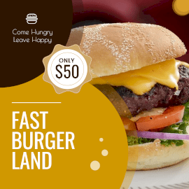 Online Editable Cheese Burger at Fast Burger Land GIF Post