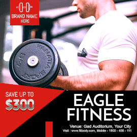 Online Editable Bodybuilding at Eagle Fitness Gym GIF Post