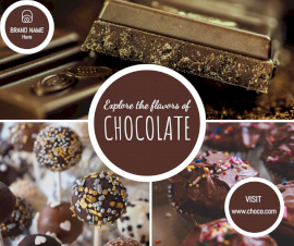 Online Editable Flavors Chocolate Candy 3 Grid Photo Collage