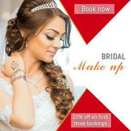 Online Editable Book Now for Bridal Makeup Discount GIF Post