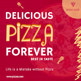 Online Editable Pink Delicious Pizza Forever Instagram Post