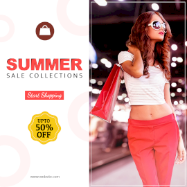 Online Editable White and Blue Summer Fashion Sale Offer Instagram Post