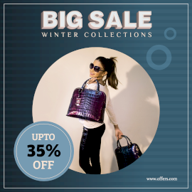 Online Editable Dark Blue Clothes Big Sale Offer Instagram Post