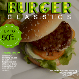 Online Editable Dark Green and Yellow Burger Classics GIF Post