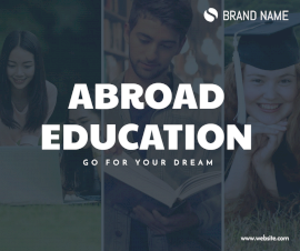 Online Editable Abroad Education Quotes Facebook Post 3 Grid Photo Collage
