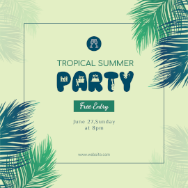 Online Editable Yellow Summer Party with Fancy Font Instagram Post
