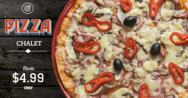 Online Editable Pizza Chalet Facebook Ad Post