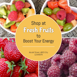 Online Editable Fresh Fruits for Energy 4 Photo Collage