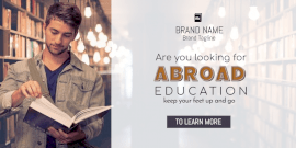 Online Editable Abroad Education Twitter Post